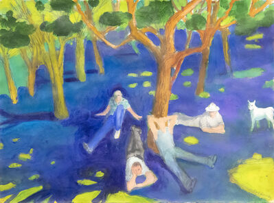 Paul Wonner, 'Park with Figures Around a Tree', 2004