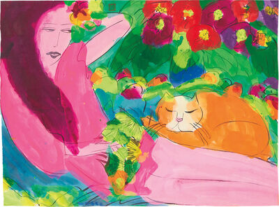 Walasse Ting 丁雄泉, 'Woman with Cat'