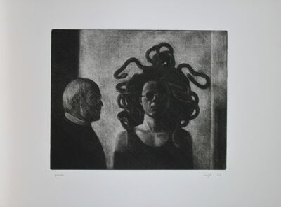 "Liu Ye 刘野, '""Selfpotrait as medusa"" with Klaus Märtens', 1993"