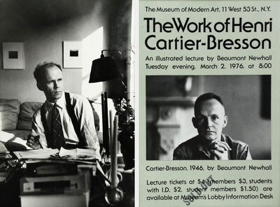 Henri Cartier-Bresson, 'Beaumont Newhall at his desk, and an original broadside for a Cartier-Bresson lecture by Beaumont Newhall, with an original photograph of Cartier-Bresson by Beaumont Newhall', 1976