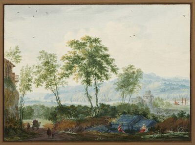 Abraham Rademaker, 'Arcadian landscape with travelers resting', ca. 1710