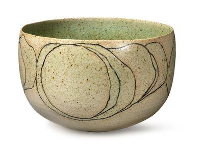 Alev Ebüzziya Siesbye, 'Circular stoneware bowl, exterior with incised relief decor and bluish black glaze. Decorated with transparent green glaze. Exterior partly unglazed.'