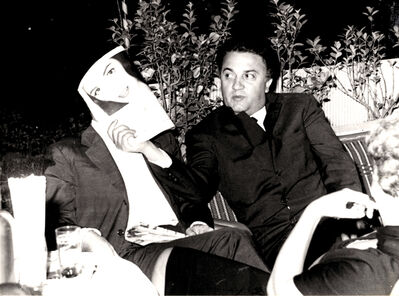 Marcello Geppetti, 'Federico Fellini covers Mario Monicelli's face in a bar at Via Veneto', 1959