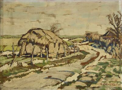 Arthur Baker-Clack, 'Haystacks by a country lane (recto), Trees by a roadside (verso)'