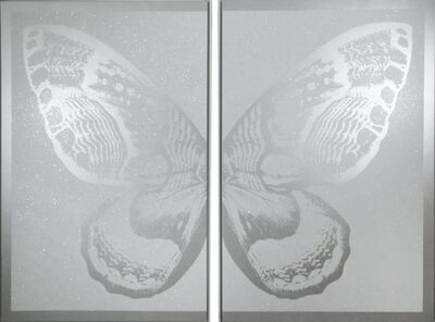 Rubem Robierb, 'Hybrid Diptych Butterfly I - Silver on White', 2017