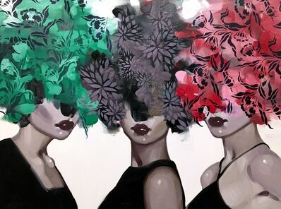 "Anna Kincaide, '""Three's Company"" oil painting of three woman with red, green and grey floral bouquet over their head', 2010-2017"