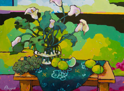 Angus Wilson, 'Calla Lily with Limes on Green', 2019
