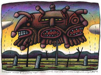 Chris O'Doherty (a.k.a. Reg Mombassa), 'Goulburn Shower II : A bleeding maggot infested bronze corpse of the Patriarchal Gods (Cranial amalgam)', 2015