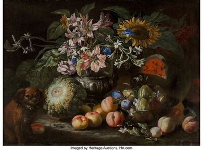 Abraham Brueghel, 'A still life of fruit and flowers in a footed gadrooned silver vase with a spaniel looking on', 1685