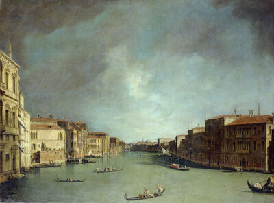 Canaletto, 'The Grande Canal in Venice near Rialto Bridge to the North', 1725/26