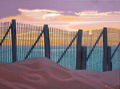 "Rob Brooks, '""Sunset Fence"" oil painting of a fence on the beach with pink and lavender sunset over the ocean', 2010-2018"