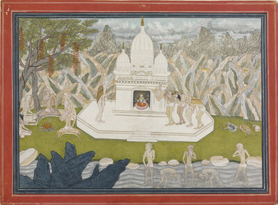 'Ascetics before the shrine of the goddess, page from a manuscript of the Kedara Kalpa. ', ca. 1815