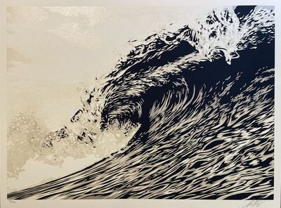 "Shepard Fairey, 'Wave Of Distress Shepard Fairey Print Obey Giant ""World Water Day"" Sephia ""Gold"" Edition', 2021"