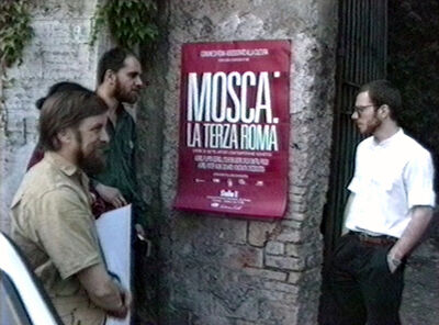 Vadim Zakharov, 'Boris Orlov, Andrei Filippov, and Andrei Roiter at the entrance to Sala 1 exhibition space in Rome at the opening of Moscow: The Third Rome, May 24, 1989', 1989