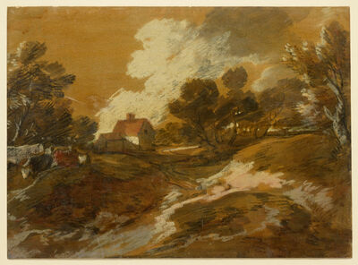 Thomas Gainsborough, 'Wooded Landscape with a Cottage and Cows', Mid-1770s