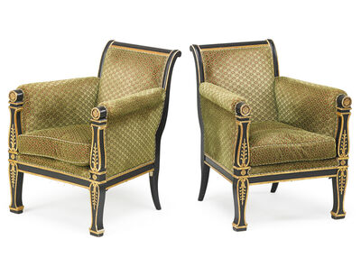 Charles X, 'Pair Of Charles X Painted & Parcel Gilt Armchairs', ca. 1830