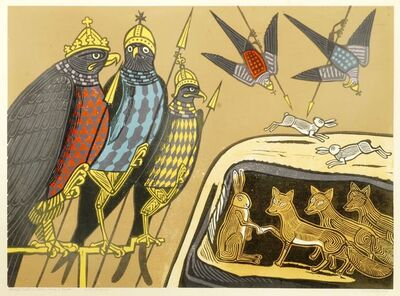 Edward Bawden, 'Aesop's Fables: Hares, Foxes & Eagles', 1970