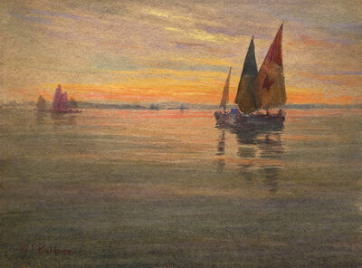 William Partridge Burpee, '[Sunset with Sailboats]', Unknown