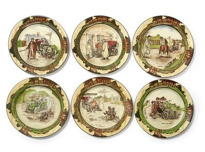 Royal Doulton, 'six Early Motoring Series ware plates', c.1905-1907