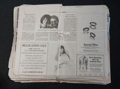 Robert Gober, 'Newspaper (Relocation Sale/Wedding) ', 1993