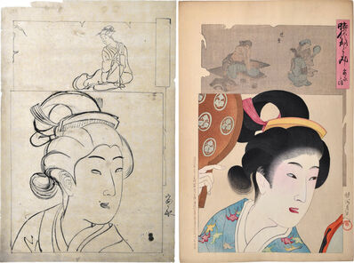 Yoshu Chikanobu, 'Preparatory Drawing with Print of 'Mirror of the Ages: Lady in the An'ei Era' ', 1896