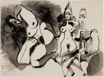 Pablo Picasso, 'Deux nus et têtes d'hommes', 29 July 1972