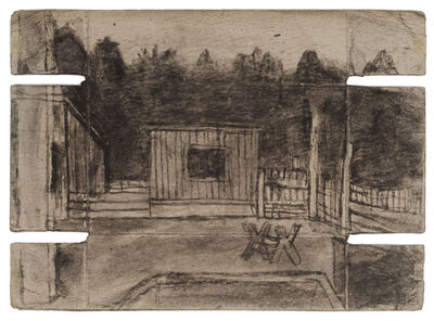 James Castle, 'Untitled (Shed with sawhorse; verso: dark shed)', n.d.