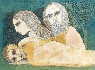 "Badri Narayan, 'Savitri, Satyavan & Yama, Mythology, Watercolor on paper by Padmashree Artist ""In Stock""', 2006"