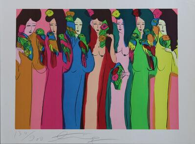 Walasse Ting 丁雄泉, 'Geishas et perroquets', 1972