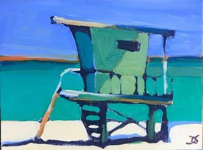 Daniela Schweitzer, 'Lifeguard Stand on the Green Beach', 2017