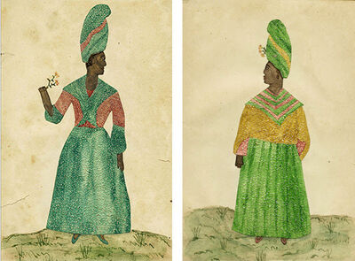 Unknown Artist, 'Pair of Needle Prick Paintings on Paper', New Orleans late 18th to early 19th century