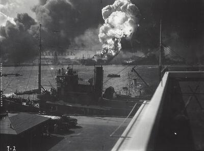 Anonymous, 'U.S. Navy Photograph - Destruction of U.S.S. Shaw, Pearl Harbor', 1941