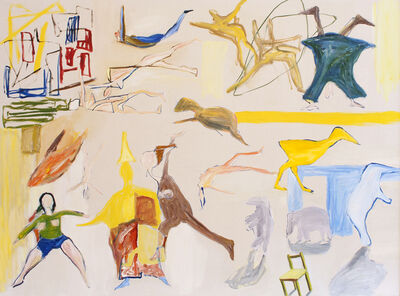 Ken Whisson, 'Circus with Oriental Magician and Yellow Duck', 16/4/1988 & 17/10/1988