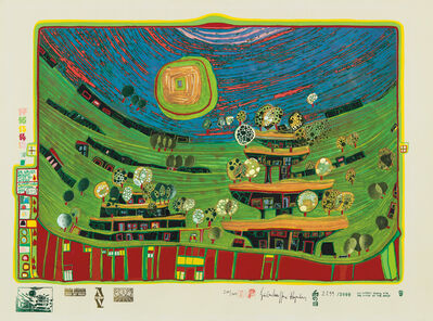 Friedensreich Hundertwasser, 'Die Häuser hängen unter den Wiesen (The Houses are hanging underneath the meadows), plate 9 from Look at it on a rainy day', 1971