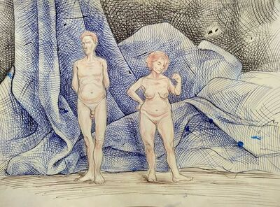Sam Vaughan, 'Differing Couple in Front of Giant Napkin', 2020