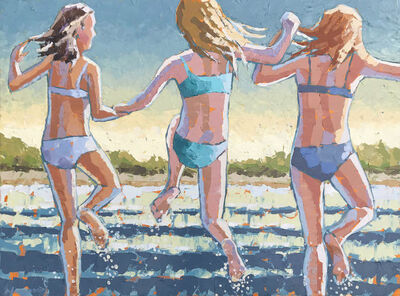 "Paul Norwood, '""Splash"" Impasto painting of three girls jumping into blue water', 2019"