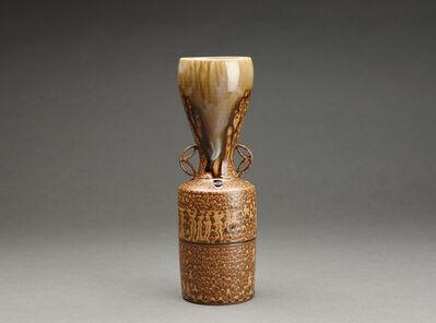 Miraku Kamei XV, 'Flower vase (hanaire), shippo design handles '
