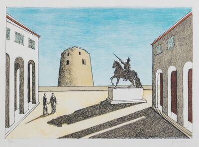 Giorgio de Chirico, 'Piazza d'Italia con statua equestre', 1973