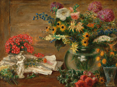 John Steuart Curry, 'Still Life with Flowers, Vase and Statue of a Cherub', 1940