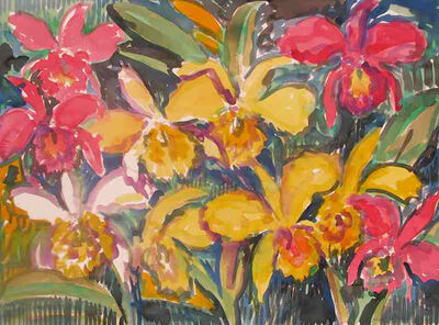 Hunt Slonem, 'Yellow Catelayas', 2005