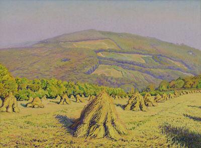 Gustave Cariot, 'Paysage aux Bottes de Blé Devant la Montagne', 1926