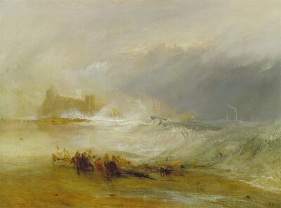 J. M. W. Turner, 'Wreckers -- Coast of Northumberland, with a Steam-Boat Assisting a Ship off Shore', 1833-1834