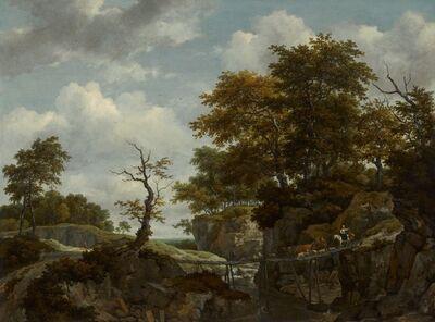 Jacob van Ruisdael, 'Landscape with Bridge, Cattle, and Figures', ca. 1660