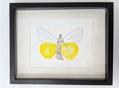 """Natalie Ciccoricco, '""""Butterfly Angel #3"""" - Yellow Butterfly with Female Figure Found Image and Embroidery on Paper - Film Noir', 2015"""