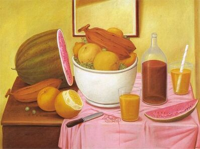 Fernando Botero, 'Still-life with orange juice', 1987