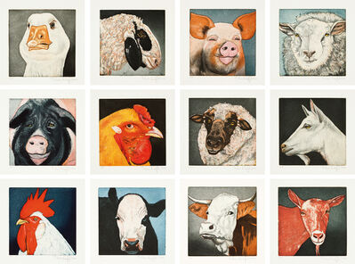 Karin Kneffel, 'Tierköpfe - Mappe mit 12 Farbradierungen', 2006