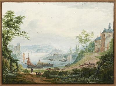 Abraham Rademaker, 'Mountainous river landscape with travelers', ca. 1710