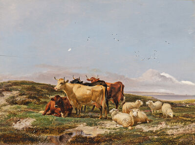 Thomas Joshua Cooper, 'Cattle and Sheep by the Coast'