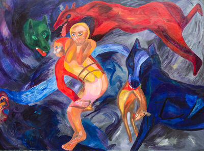 Robert Kippur, 'Untitled (Figures and Wolves)', ca. 1985