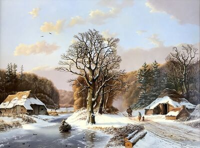 Rob van Assen, 'Romantic winter landscape with figures.'